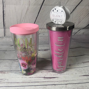 """Lot of 2 Tumblers, """"MOM"""" & """"SPARKLE ON"""""""